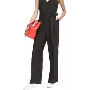 Black V-neck Wide-leg Belted Lined Jumpsuit